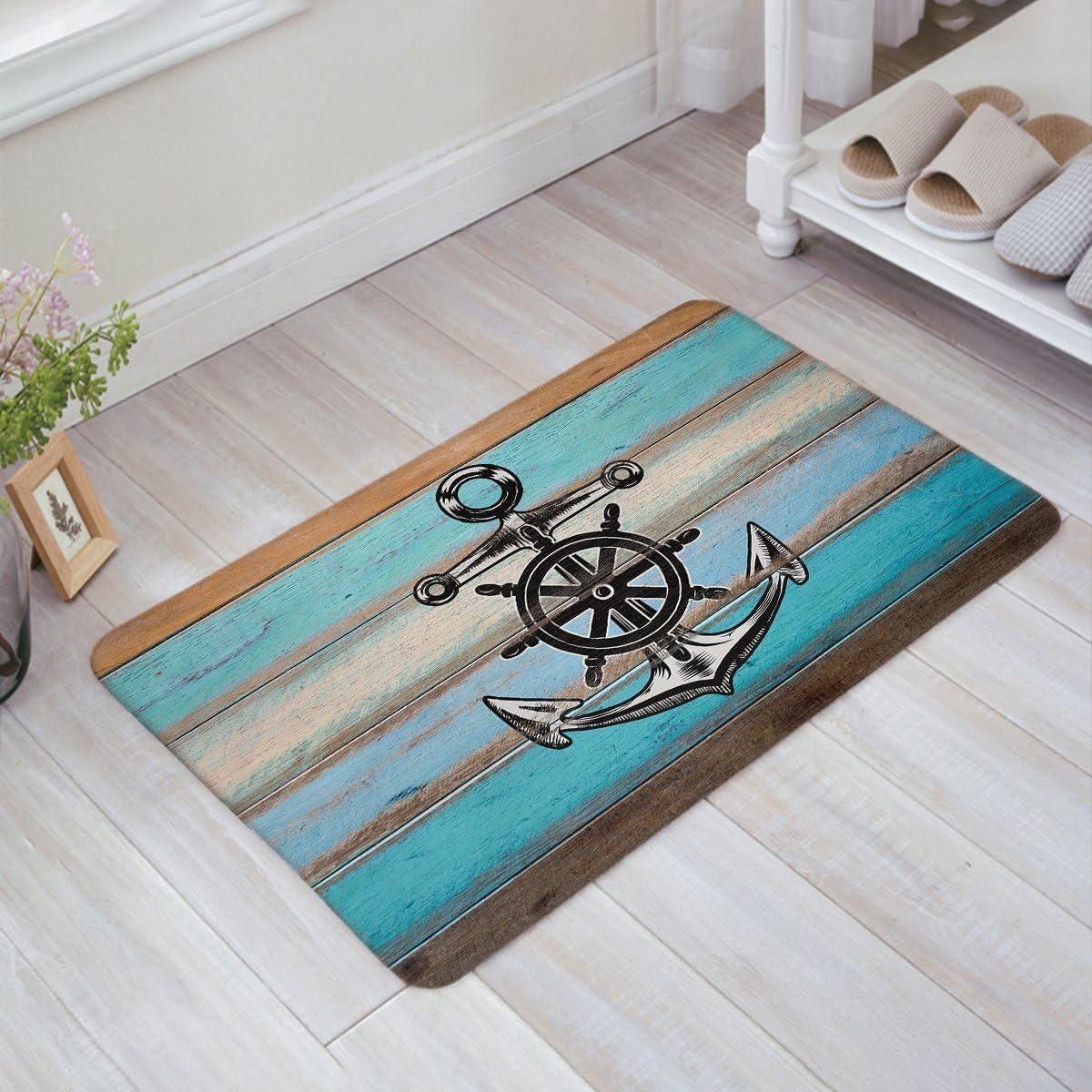 Vandarllin Anchor Doormat,Old Barn Wooden Door Art Floor Planks Mat Rugs Non-Slip Indoor Outdoor Front,23.6 x15.7