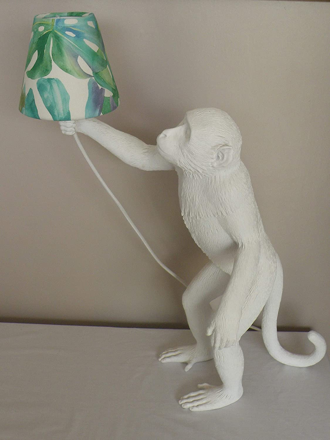 Bespoke Candle Clip Lampshade in Botanical Tropical Palm Green/Blue 2 Sizes