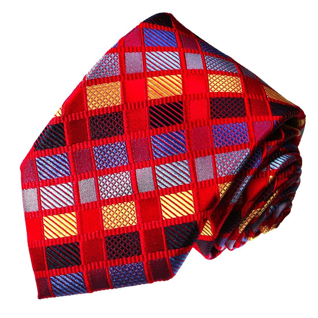 LORENZO CANA - Designer corbata de seda 100% - Rojo Azul Oro ...