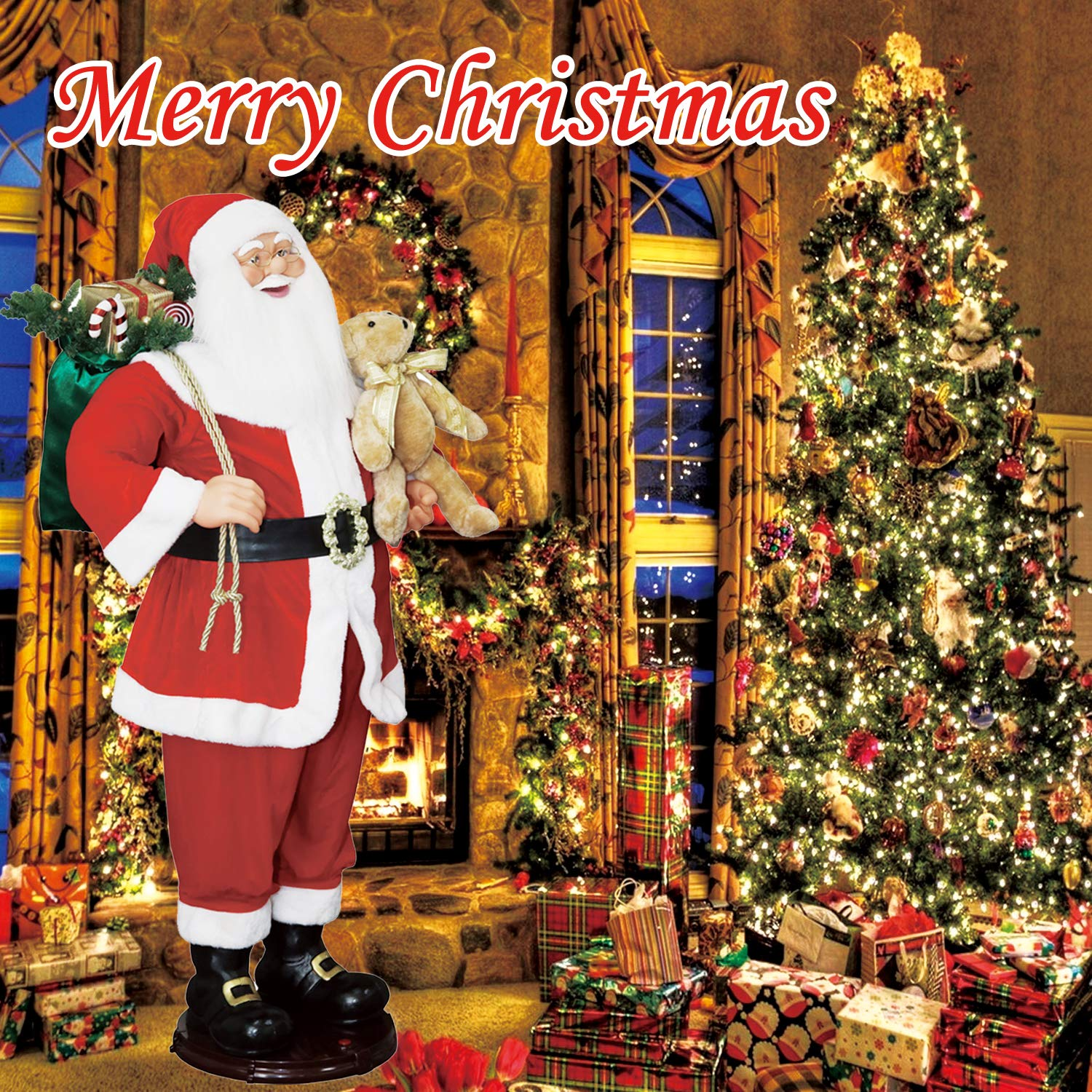 CHENGMON 59 Inch Christmas Life Size Animated Rock Singing and Dancing Santa Claus Collapsible Decoration Collection Musical Sensor Reaction Figure Traditonal Red Standing Indoor Gift Bag Bear