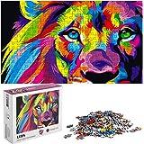 hanylish Rompecabezas de 1000 Piezas para Toda la Familia, Diseño León de Colores, Calidad Premium, Multicolor, Tamaño Perfec