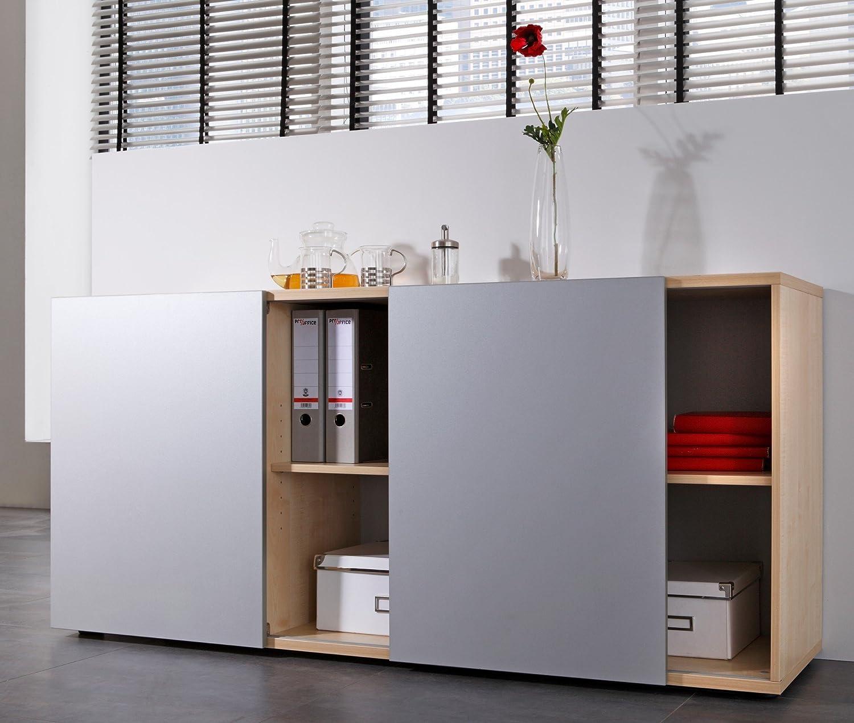 Bümö® Büro Sideboard mit Schwebetüren | Büroschrank mit Stauraum ...