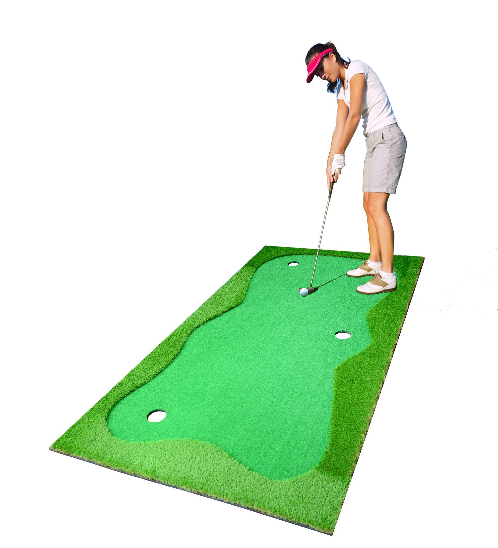 77tech Large Artificial Grass Golf Putting Green Mat Indoor/Outdoor Golf Training Aid Equipment Mat (3.3x10ft)