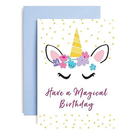 Tarjeta de cumpleaños mágica de unicornio por TBS (A6 en ...