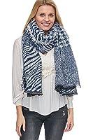 Alzora Damen XXL Winter Schal riesig und extrem flauschig dick Baumwolle Poncho Karo Halstuch Cape Scarf Blogger Herbst kariert Fransen
