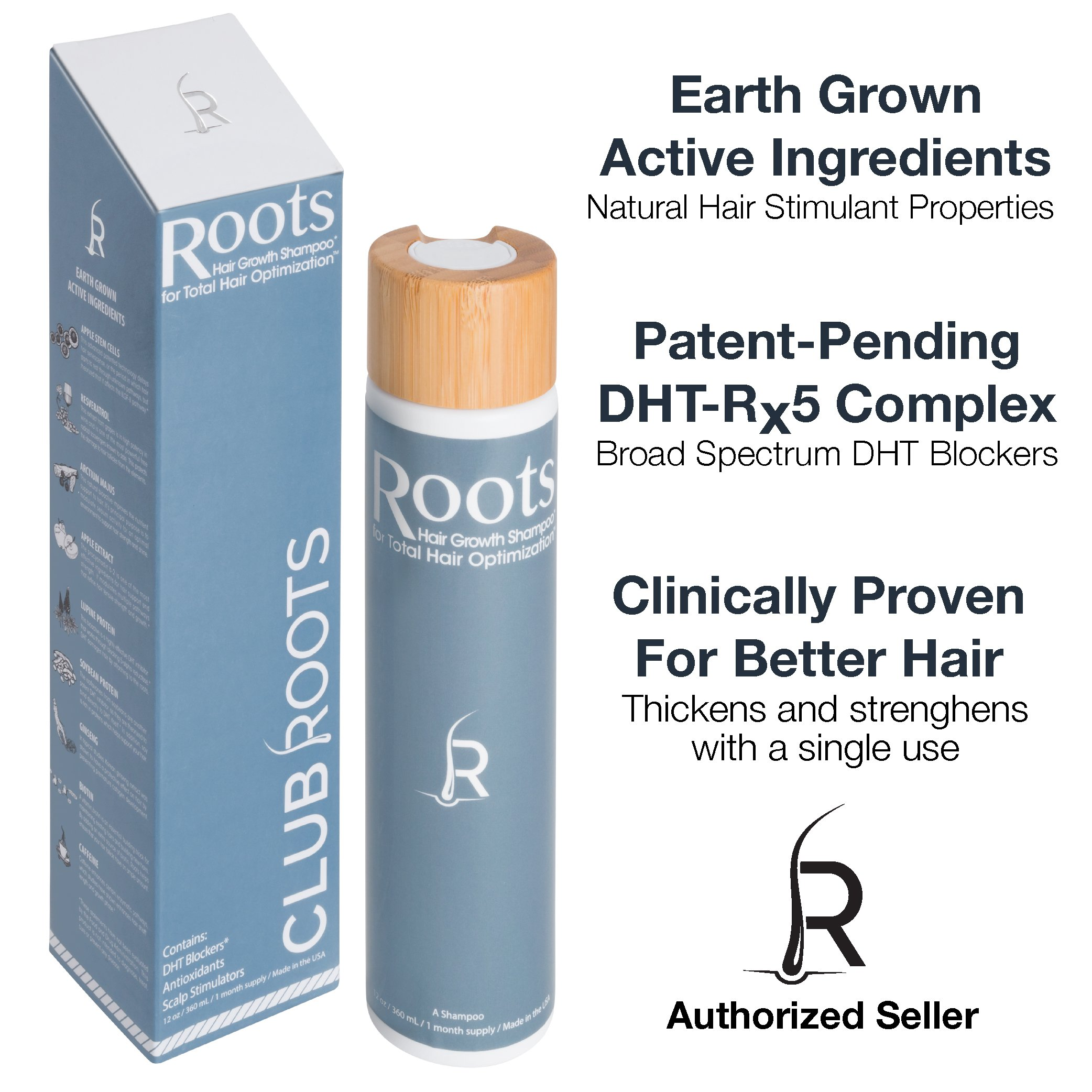 Roots Shampoo Original Formula | Hair Growth Stimulating Shampoo with DHT Blocker, Biotin, Caffeine by Club Roots