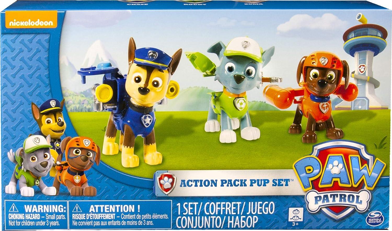 PAW PATROL 6024061- Paquete de figuras de acción Pack Pup de 3 - Versión 2 (Chase, Rocky, Zuma): Amazon.es: Juguetes y juegos