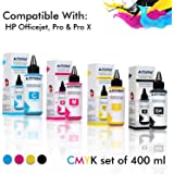 ProDot Inkjet Refill Ink with Safe Fill Needle for Cartridge Printers  Cyan/Magenta/Yellow/Black, Pack of 4