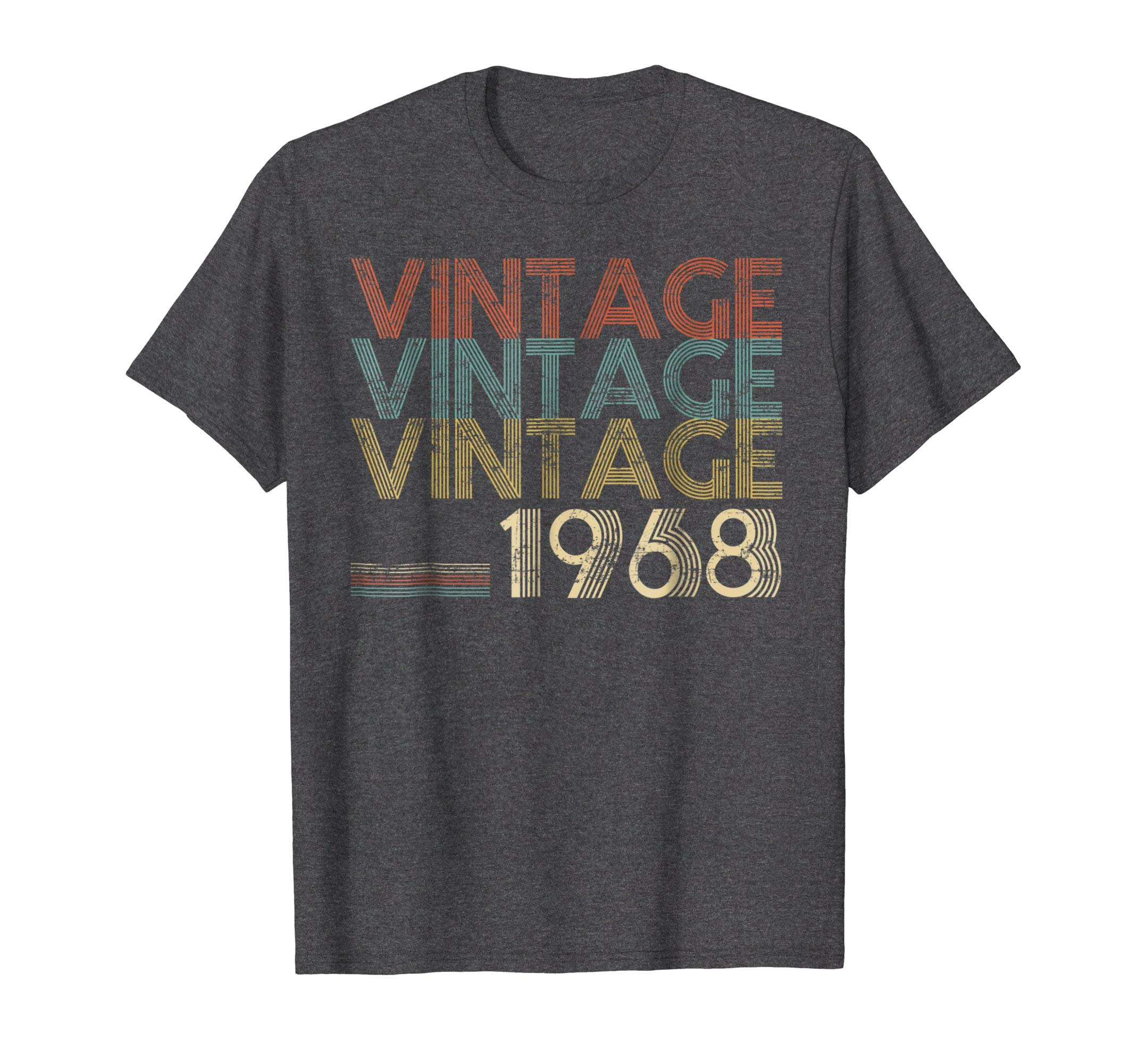 Mens Retro Classic Vintage Born In 1968 - 50th Gift 50 Years Old XL Dark Heather