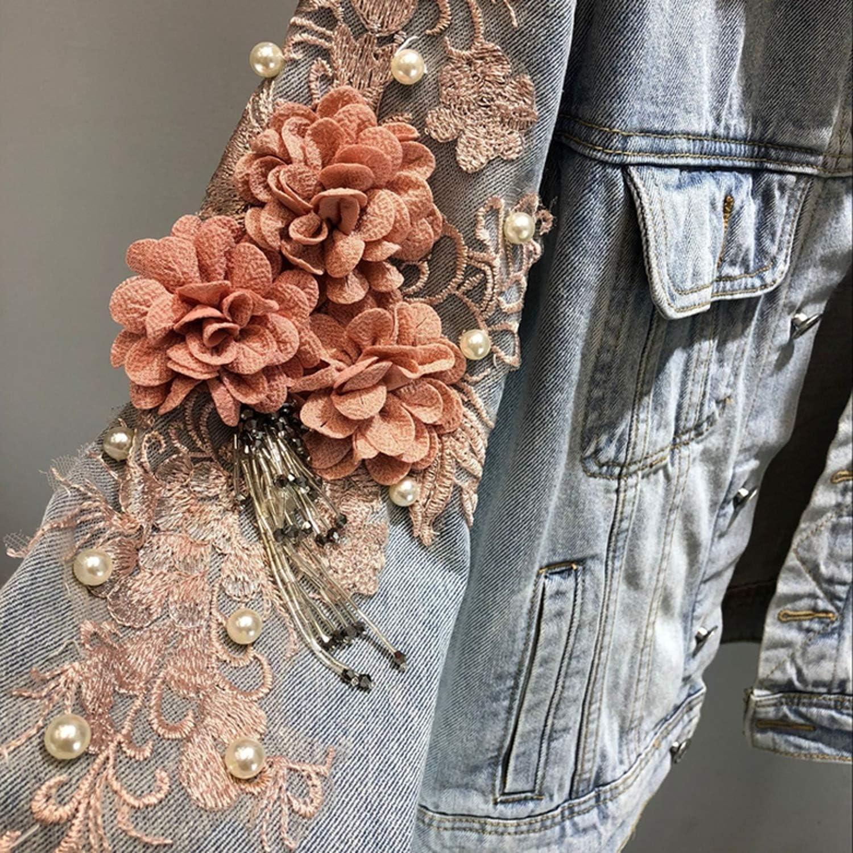 Jeans Jacket Coat Woman Pearl Beaded Flower Embroidered Vintage Denim Jackets Basic Coats