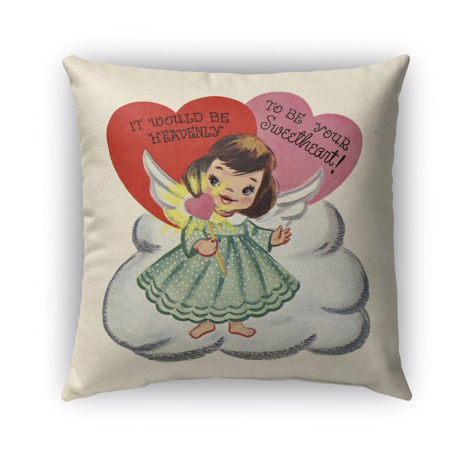 KAVKA Designs To Be Your Sweet Heart Indoor-Outdoor Pillow, (Green/Pink/Red) - TRADITIONS Collection, Size: 16X16X6 - (TELAVC8171OD16)
