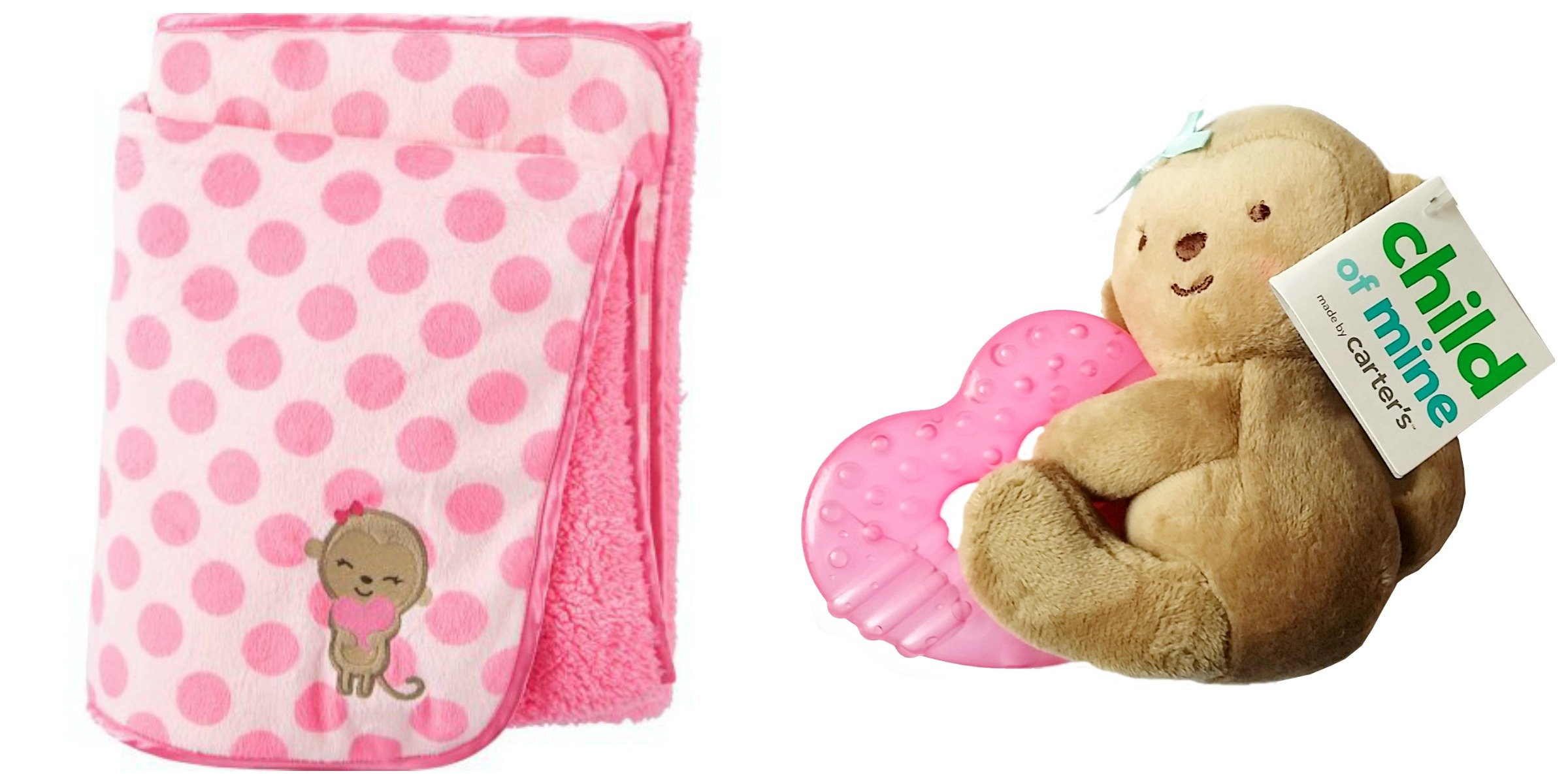 Child of Mine Carter's Newborn Baby Valboa Blanket & Teething Ring Bundle, 2PC by Unknown