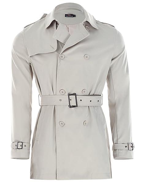 d965a0ecef2b Paul Jones Men's Classic British Lapel Collar Trench Coat Slim Fit Winter  Double-Breasted Long