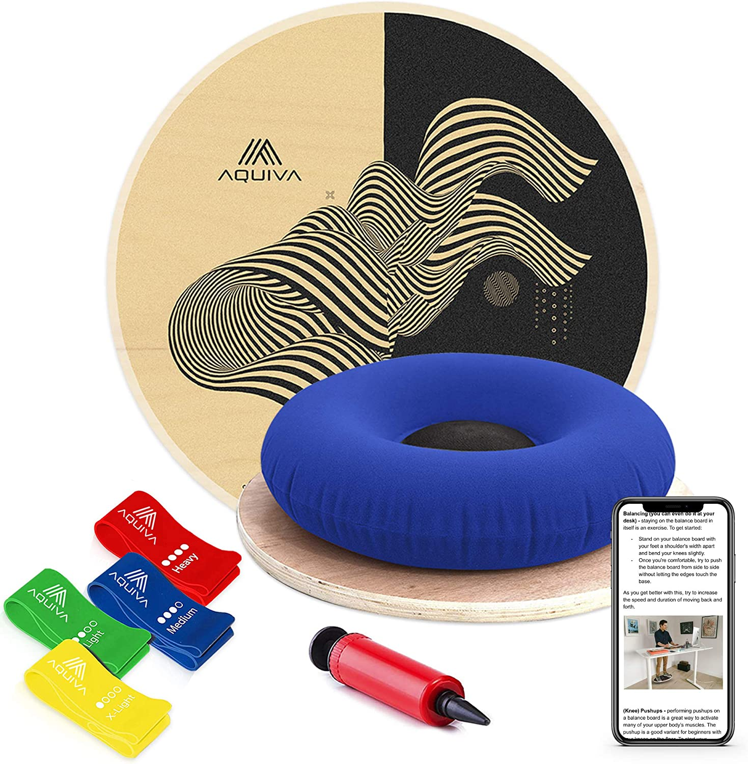 AQUIVA Wooden Wobble Balance Board Equipment with Resistance Loop Bands for Physical Therapy and Exercise