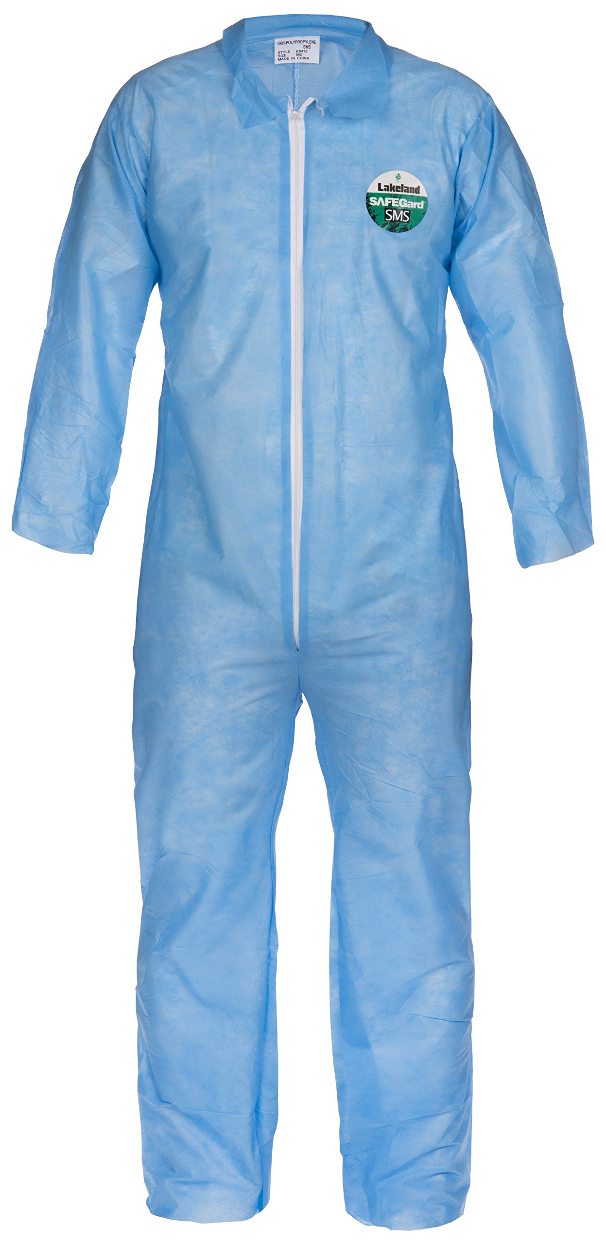 Lakeland SafeGard Economy SMS Coverall, Disposable, Open Cuff, Large, Blue (Case of 25)
