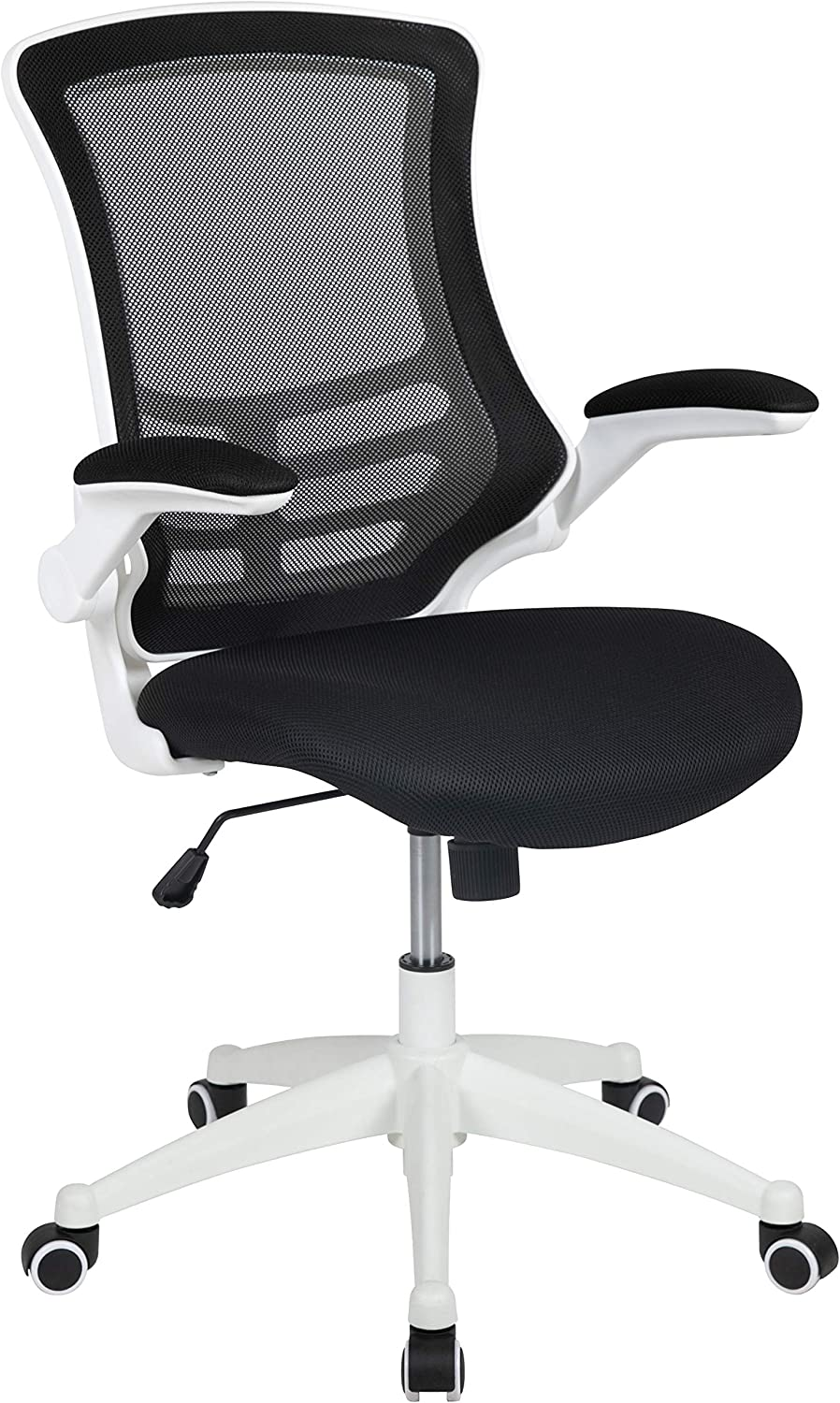 Flash Furniture Mid-Back Black Mesh Swivel Ergonomic Task Office Chair with White Frame and Flip-Up Arms, BIFMA Certified