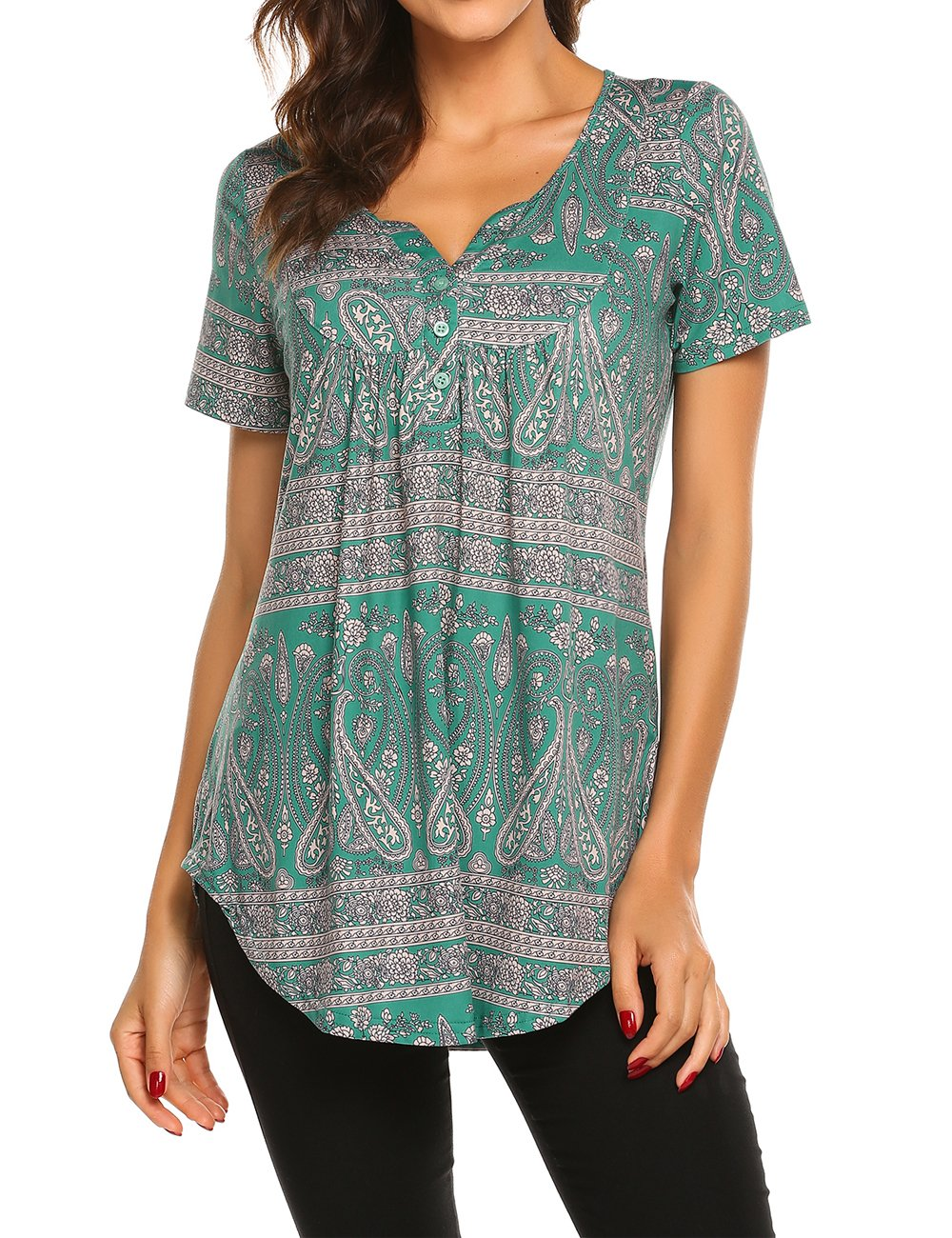 Womens Short Sleeve Flare Tunic Tops Loose Fit Paisley Print Summer Henley Blouse Dark Green,L