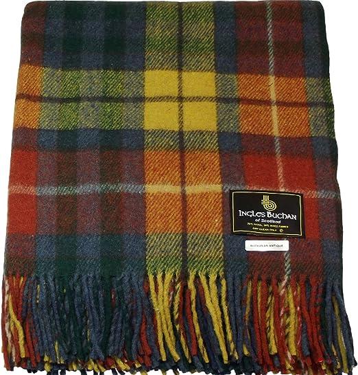 Tartan Blanket Picnic Rug  Wool Mix Scottish Buchanan Modern Tartan