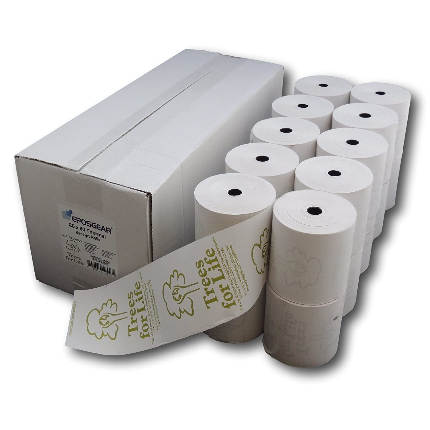 Supporting Trees for Life EPOSGEAR/® 80mm x 80mm 80x80 Printed Thermal Paper Till Cash Register Machine Receipt EPOS System Printer Rolls 40