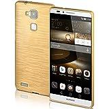 Cover di protezione Huawei Ascend Mate 7 Custodia Case silicone sottile 1,5mm TPU | Accessori Cover cellulare protezione | Custodia cellulare Paraurti Cover Spazzolata Look CHROME-GOLD