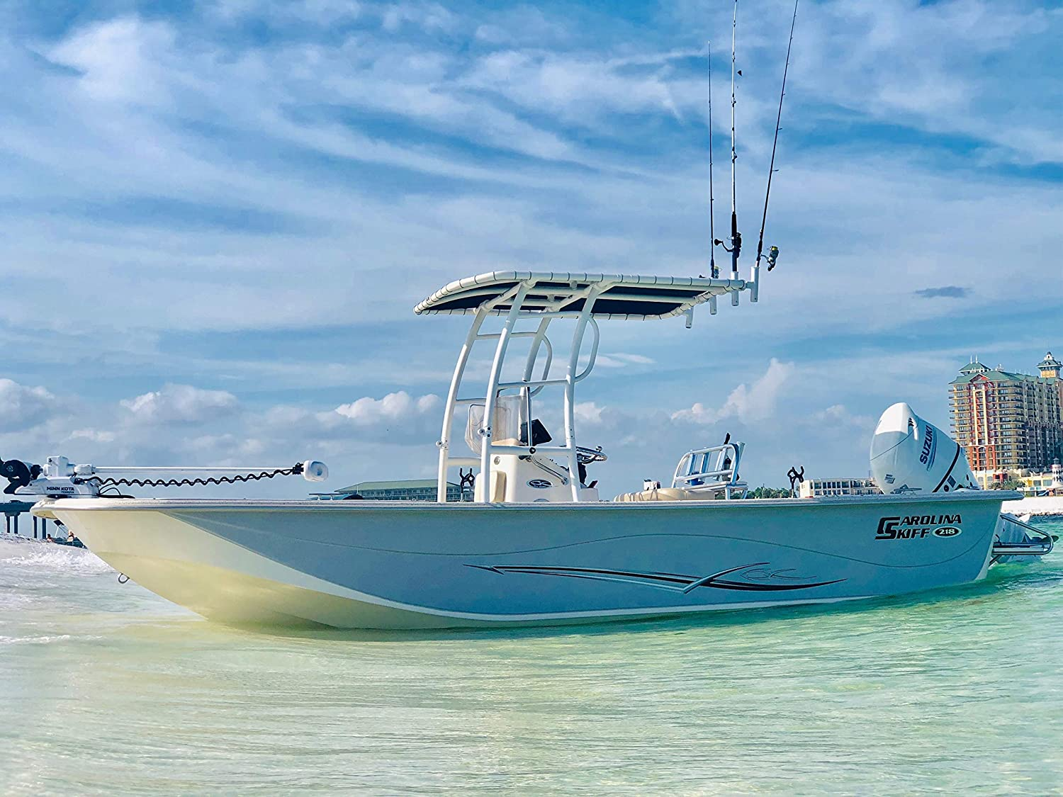 FISHMASTER MARINE TOWERS AND ACCESSORIES Boat TTOP for Center Console  Fishing Boats- Universal FIT- White Powder Coat - Pro Series