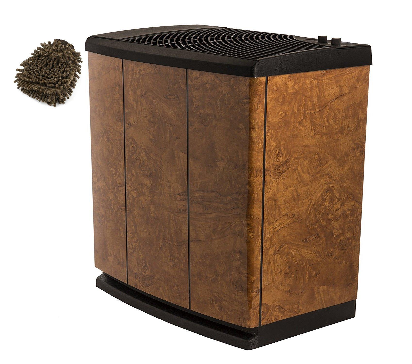 H12-400HB AIRCARE Evaporative Whole-House Humidifier, 3-Speed Console-Style, Oak Burl (Complete Set) w/ Bonus: Premium Microfiber Cleaner Bundle