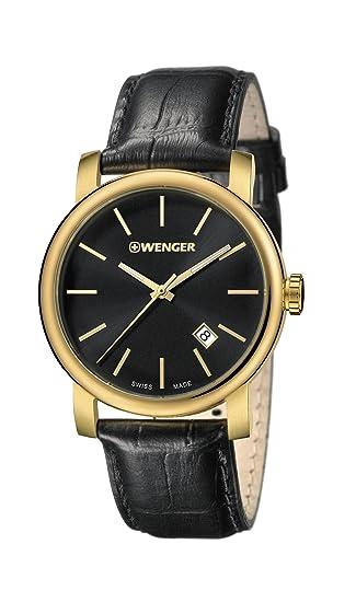 Wenger Reloj Analogico para Hombre de Cuarzo con Correa en Cuero 01.1041.123: Amazon.es: Relojes