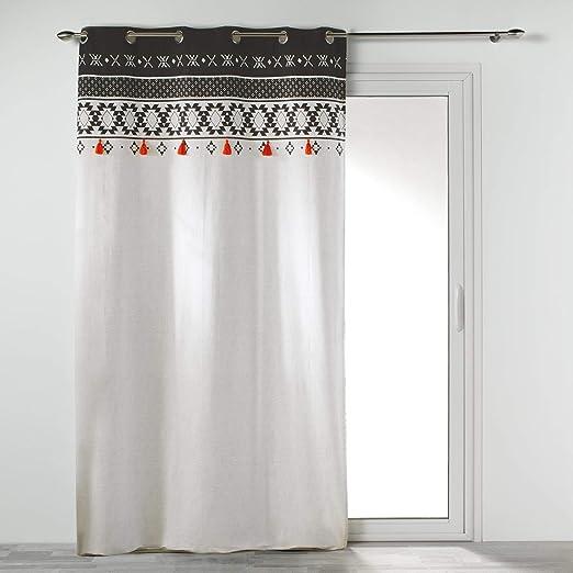 COTON dintérieur Cortina con Ojales 140 x 245 cm, algodón Estampado Tribaly Top: Amazon.es: Hogar