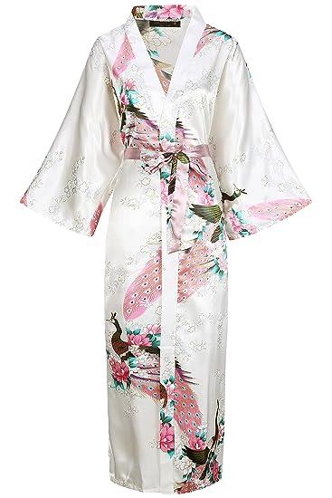 BABEYOND Robe Longue Satin Femme Robe de Chambre Paon Femme Longue Kimono Femme  Nuit Chemise de 4ac393f411e