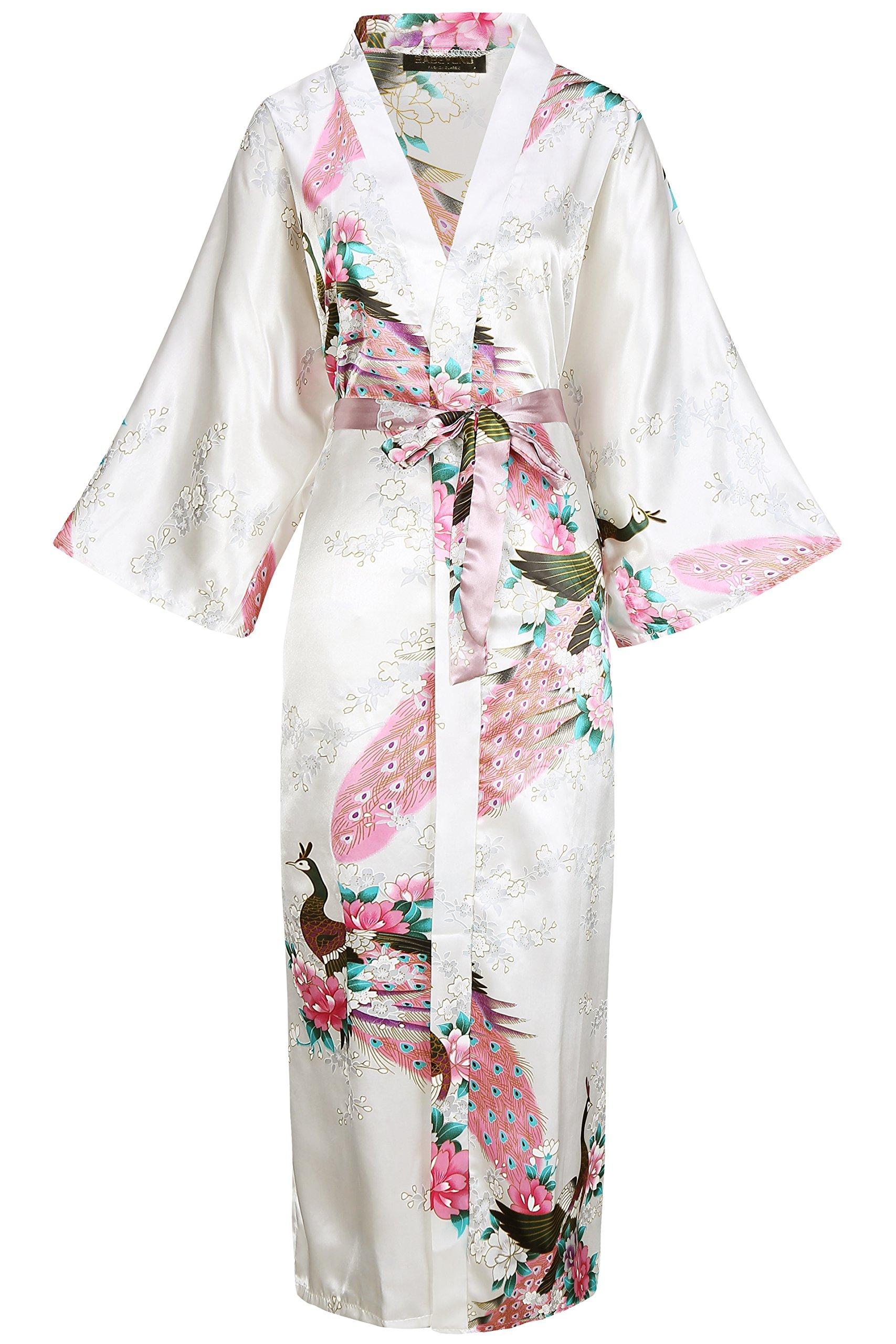 ArtiDeco Vestido Kimono Pijama de Seda Novia Kimono de Seda Ropa de dormir de Satén Estampado