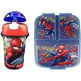 Cantimplora de Agua Infantil de Spiderman + Fiambrera sandwicheras con 3 Compartimentos para niñas niños, Botella…