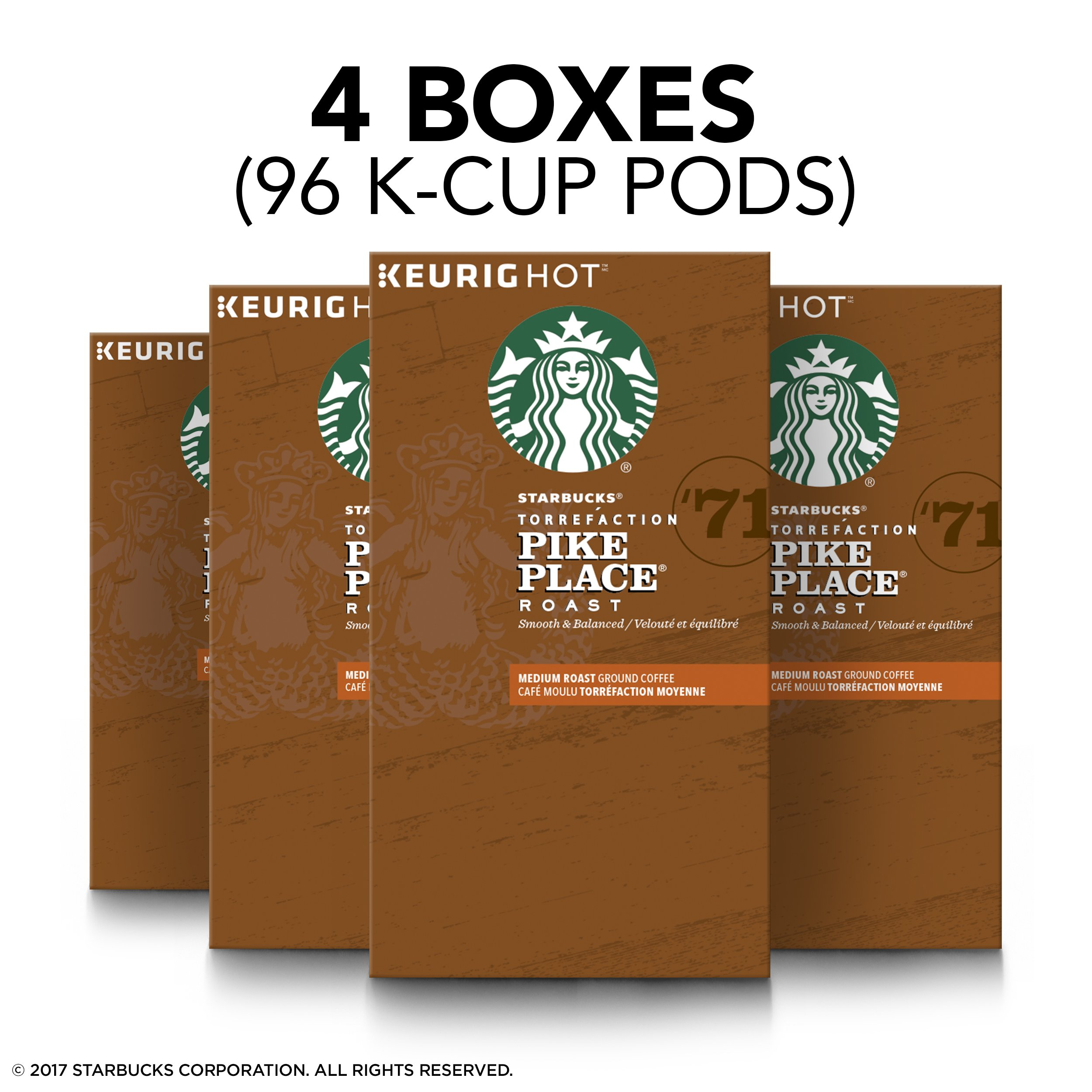 Starbucks Pike Place Roast Medium Roast Single Cup Coffee for Keurig Brewers, 4 boxes of 24 (96 total K-Cup pods) by Starbucks (Image #7)