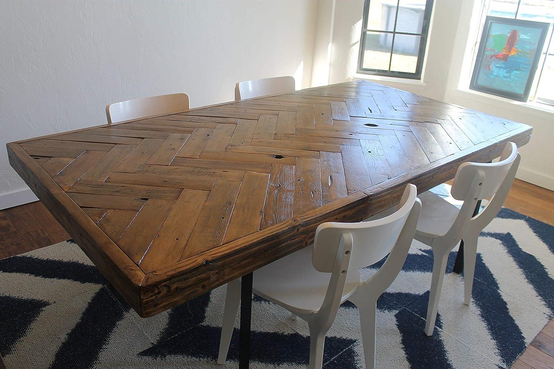 Amazon Com Reclaimed Wood Herringbone Dining Table Made To Order Handmade