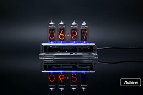 Millclock IN-14 Nixie Tube Clock Assembled Acrylic Enclosure and Adapter  4-Tubes