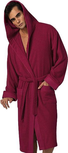 Absorbent Terry Mens Hooded Bathrobe of Premium Turkish Cotton Comfortable