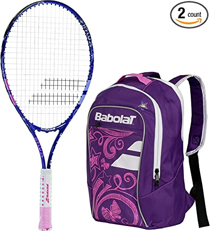Babolat BFly Tennis Racquet Bundled with a Pack of Overgrips and a Can of Pink Tennis Balls