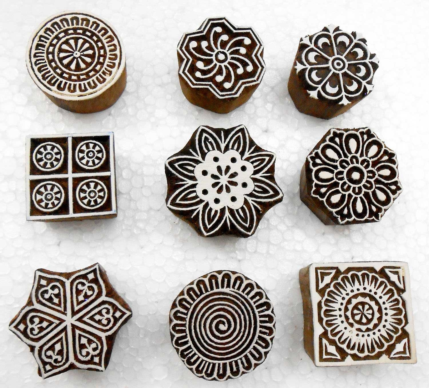 Handcarved Wooden Block Printing Stamps (Set of 9) for Textile Designing/ Craft printing pattern for Saree/ Scrapbookng/ Tattoo