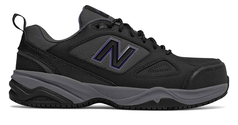 (ニューバランス) New Balance 靴シューズ レディースワーク Steel Toe 627v2 Leather Black with Purple ブラック パープル US 7 (24cm) B078V3GTF1