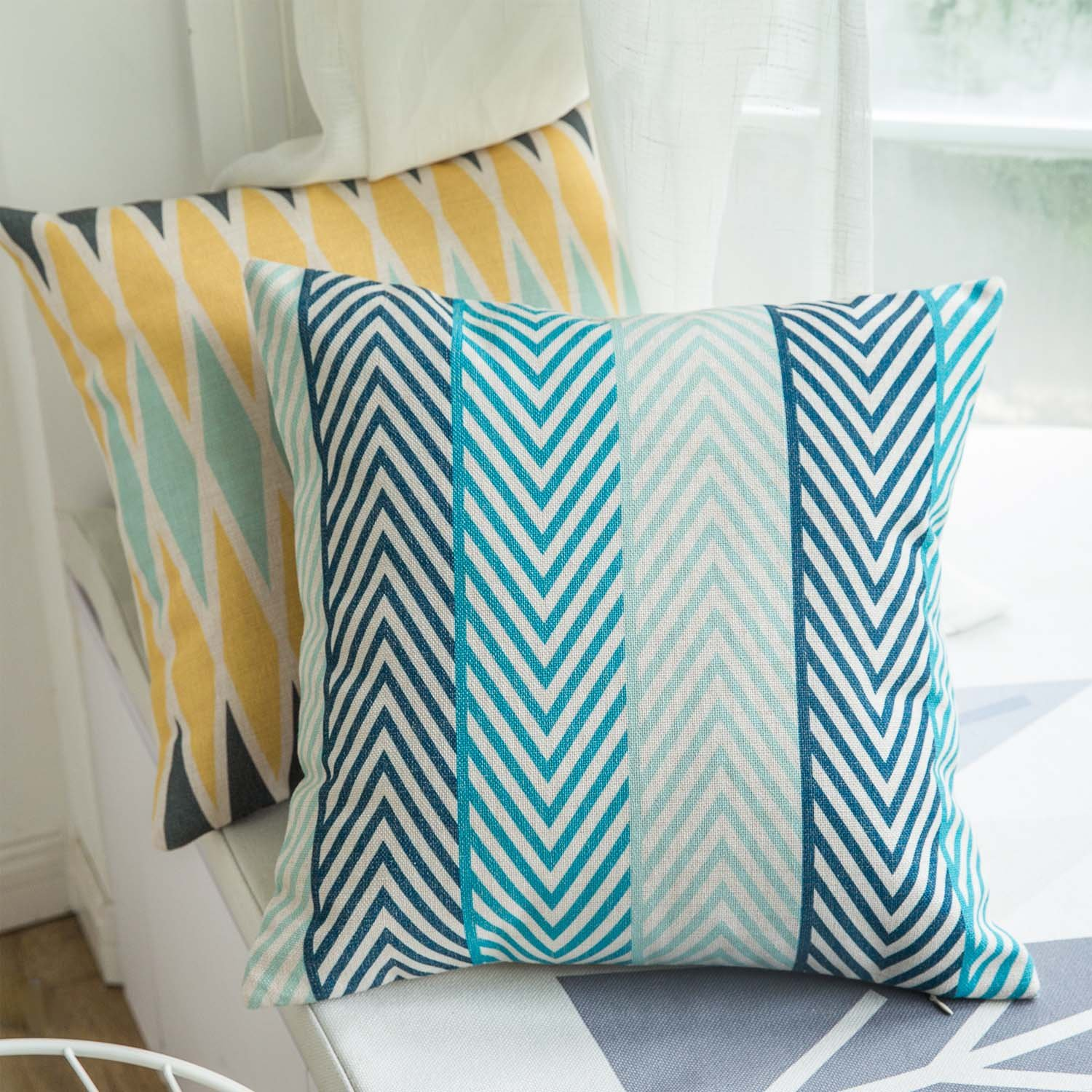 Ofat Home Colorful Dark Blue Streamline Style Decorative Throw Pillow Case Cotton Linen Cushion Cover 18 x 18 Inch for Home Sofa D