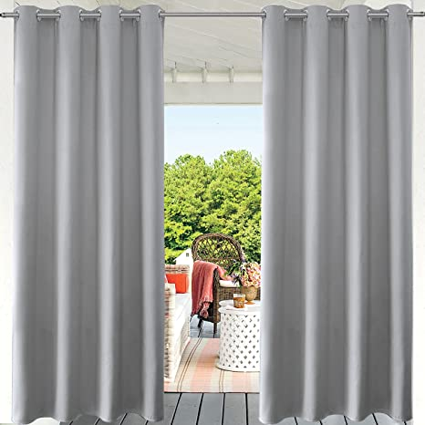 PRAVIVE Grey Blackout Outdoor Curtains - Indoor/Outdoor Curtain Panels for  Patio Privacy/Gazebo - Amazon.com : PRAVIVE Grey Blackout Outdoor Curtains - Indoor/Outdoor