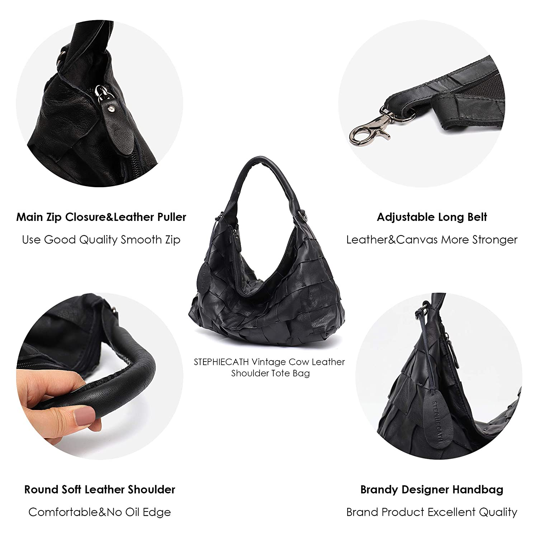 Amazon.com  Genuine Leather Women s Shoulder Bag STEPHIECATH Large Casual  Soft Real Leather Skin Tote Vintage Snap Basket Carry Bag (TAN) (MEDIUM fc5cd90797c7e