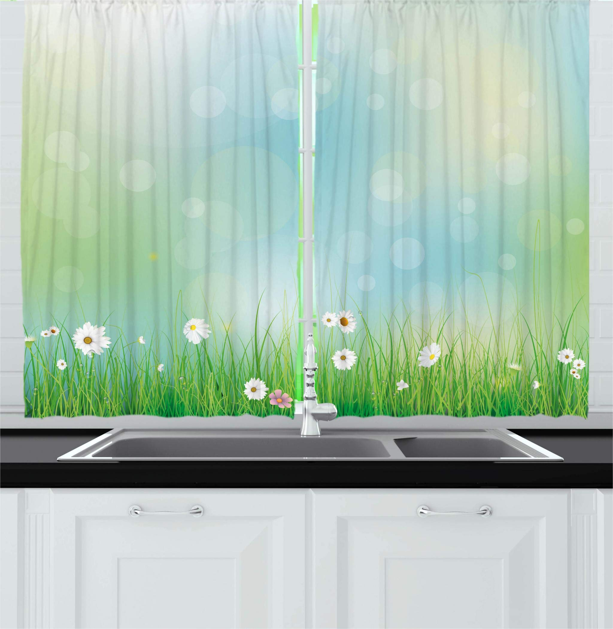 Ambesonne Flower Kitchen Curtains, Fairy Spring Blooms on an Abstract Background Pattern with Digital Bursts Ovary, Window Drapes 2 Panel Set for Kitchen Cafe Decor, 55'' X 39'', Green Blue by Ambesonne