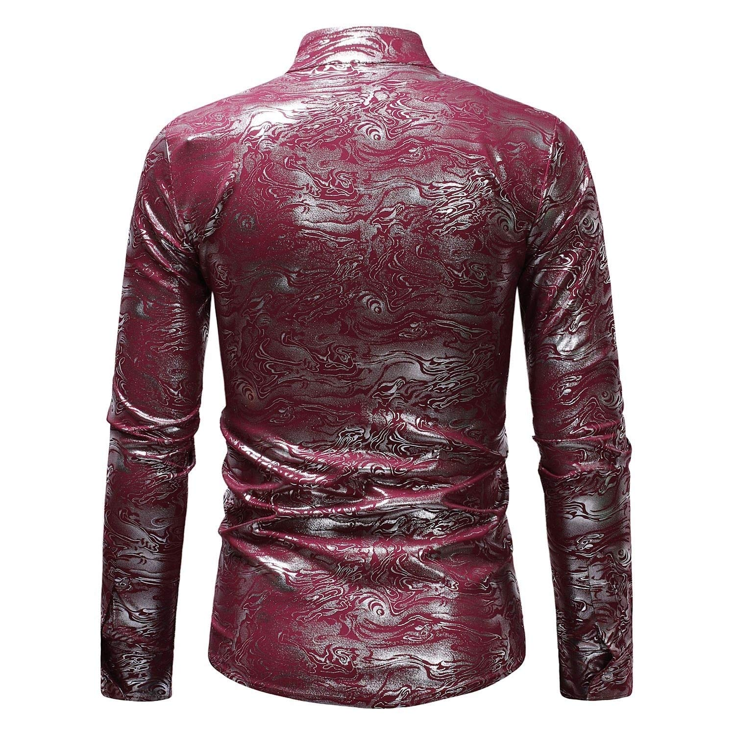 YUNY Men Button Stand Up Collar Satin Dress Long-Sleeve Western Shirt Wine Red S