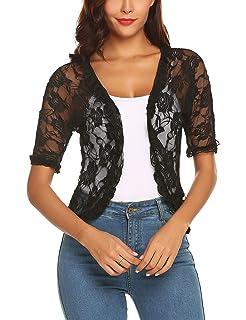 138324d242 URRU Women s Lace Crochet Cardigan Ruffle Half Sleeve Open Front Casual Bolero  Shrug S-XXL