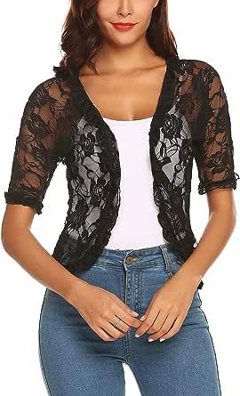 URRU Women's Lace Crochet Cardigan Ruffle Half Sleeve Open Front Casual Bolero Shrug S-XXL