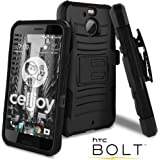 HTC Bolt Case, HTC 10 EVO Case, CellJoy [Ultra Rugged Hybrid] Dual Layer (ShockProof) Reinforced Bumper Protection Cover {Kickstand} [Locking Swivel Belt Clip Holster Combo] (Black)