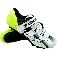 LUCK Zapatilla de Ciclismo Extreme Blanco MTB, con Suela de Carbono y Triple Tira de Velcro.