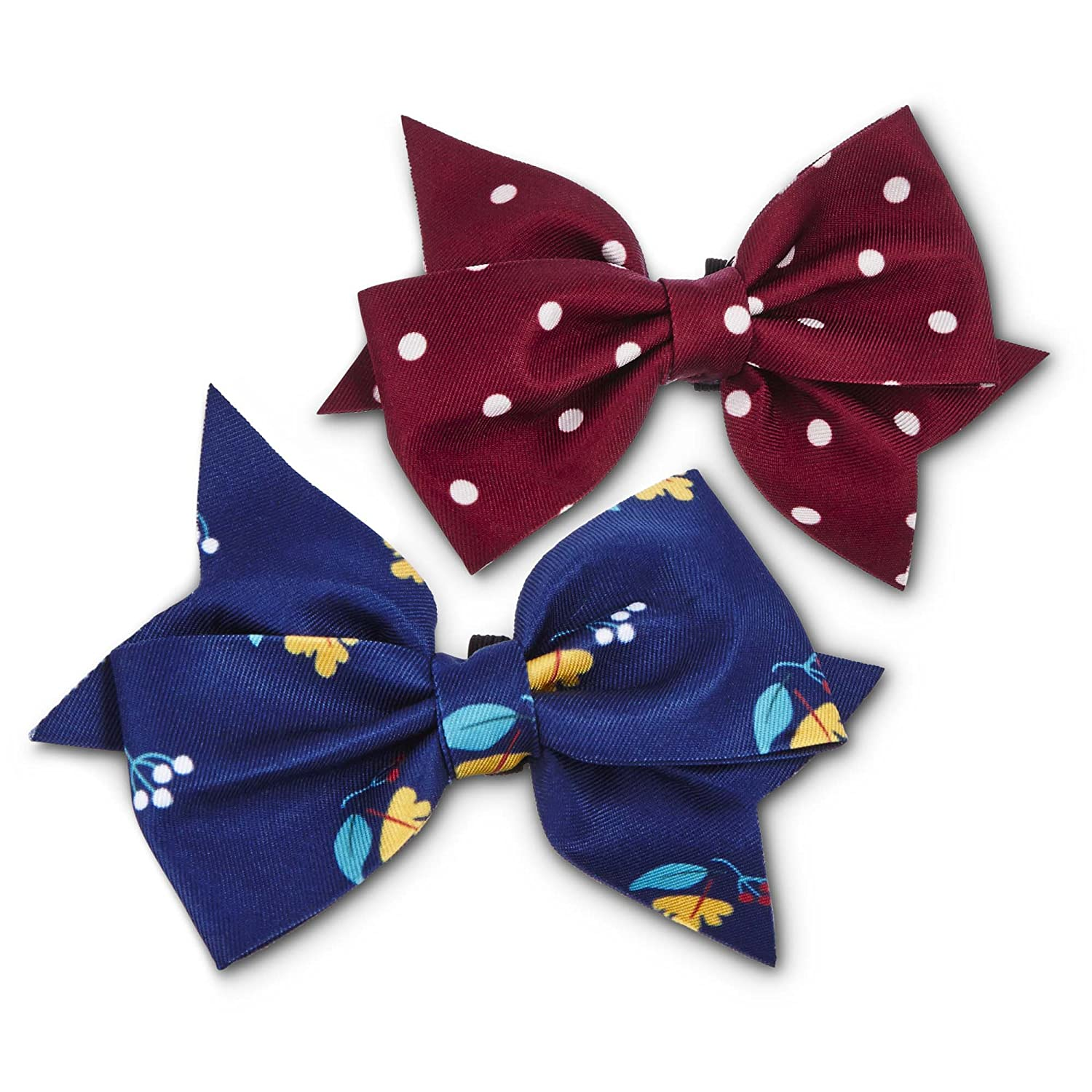 One Size Fits All Bond & Co. Dot and Floral Dog Bows, 2 PK, One Size Fits All, Burgundy