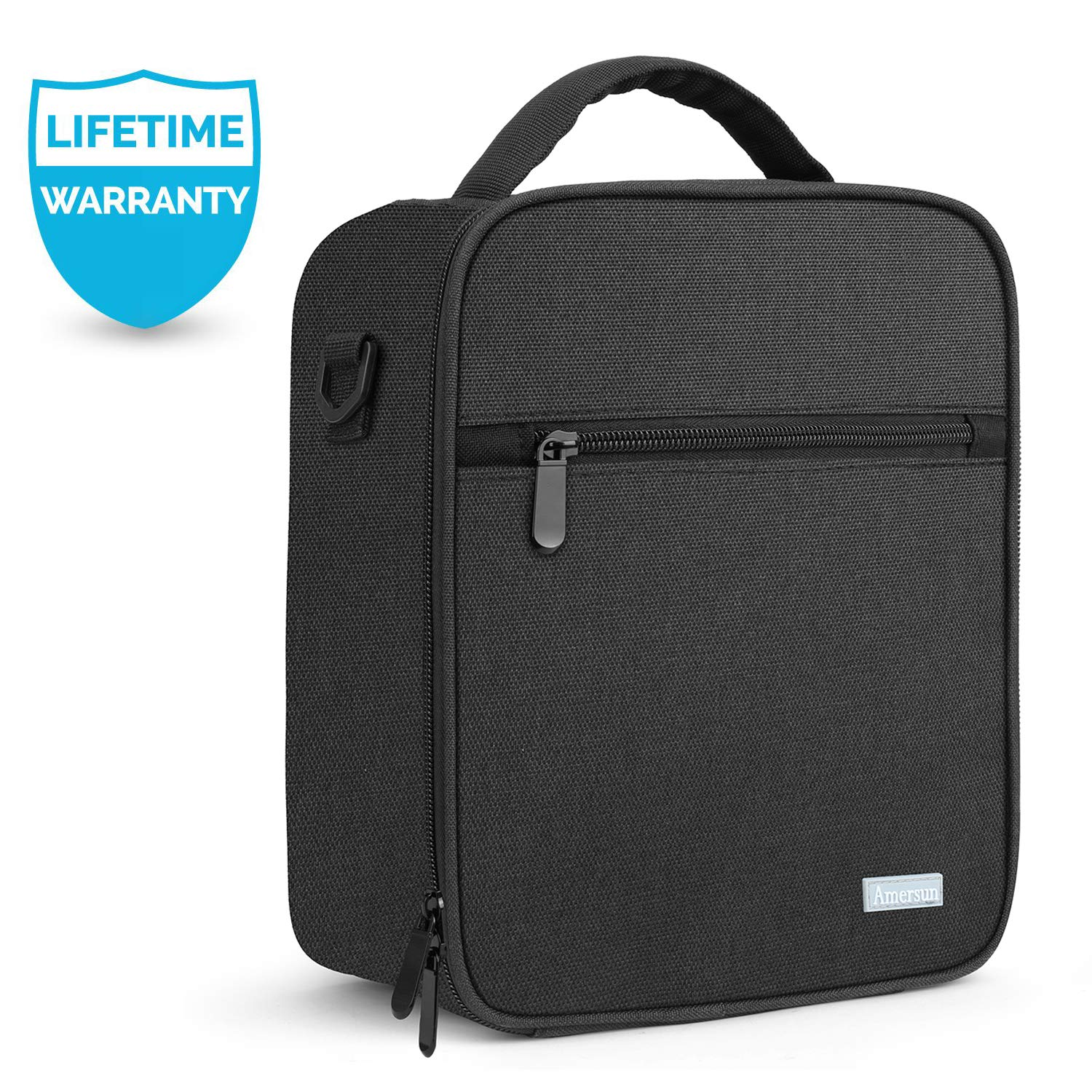 Lunch Bag with Firm Foil-BPA FREE, Amersun Original Reusable Insulated Lunch Box School Cooler Picnic Holder with Shoulder Strap for Kids Boys Men Women Girls,Spill-resistant & 2 Pockets (Black) by Amersun (Image #1)