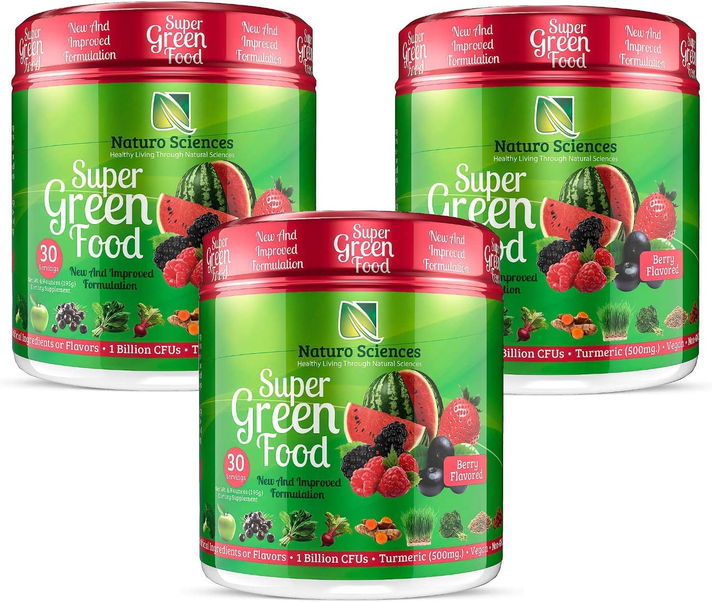 100% Natural Greens Powder  10+ Hard to Get Superfoods  Greens Supplement Powder 1 Month's Supply  Green Organic Blend with 1 Billion CFU Probiotics + 500mg Turmeric,Berry Flavor, Pack of Three